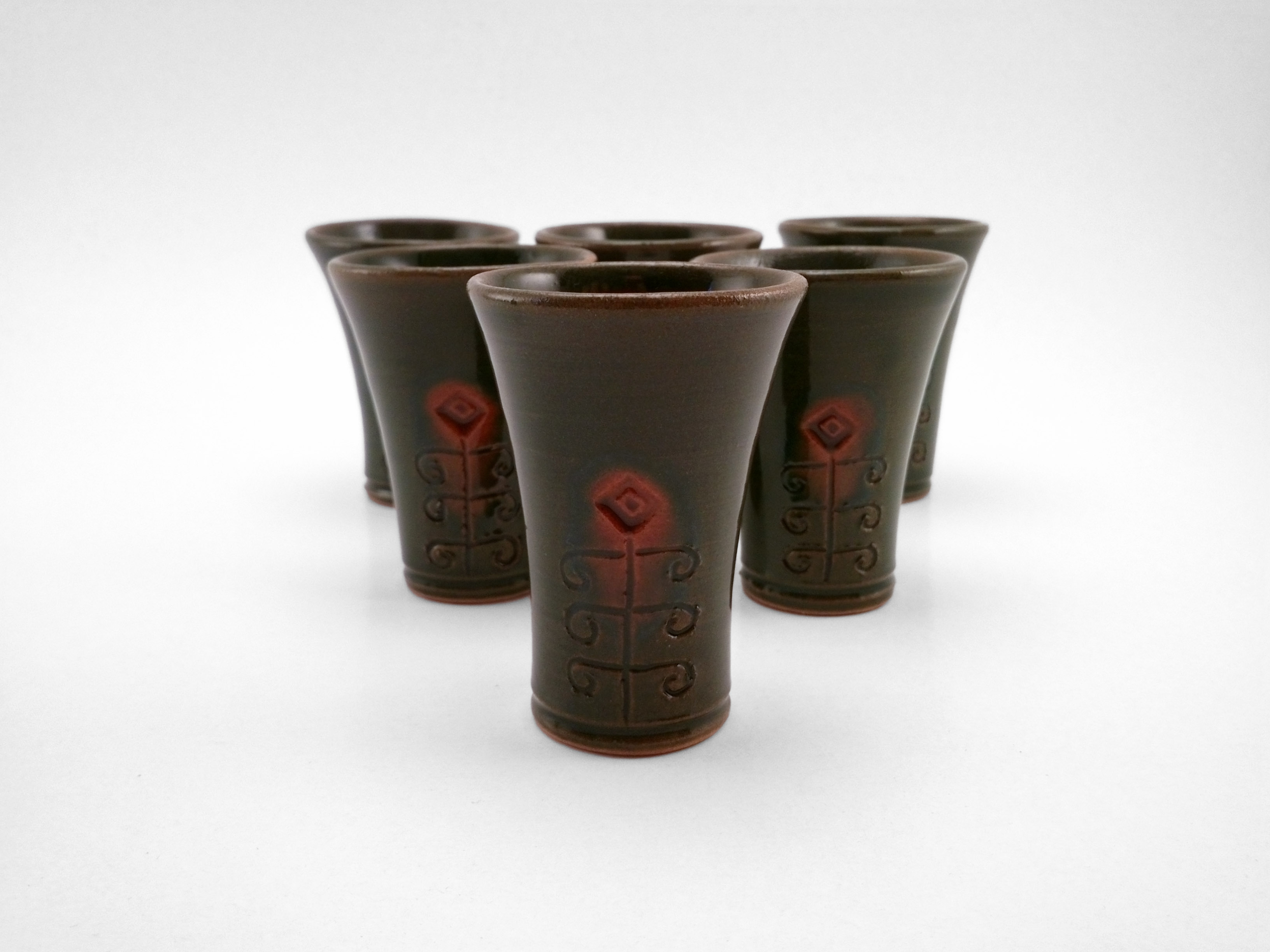 Pálinka Cups with Traditional Floral Pattern - Ildikó Károlyi