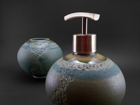 Chrysocolla and Brass Bathroom Set - Ildikó Károlyi