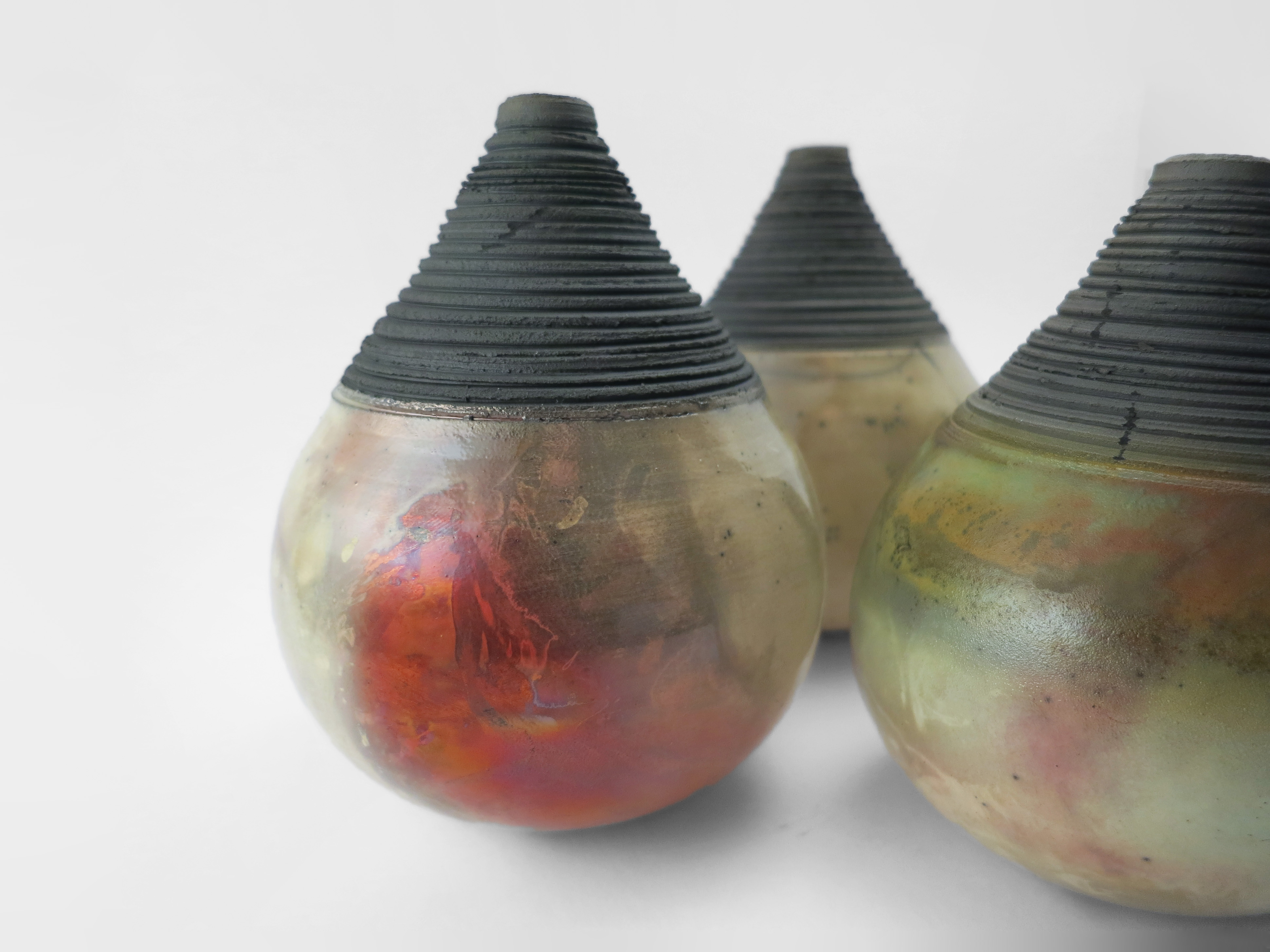 Raku Whispering Globes from the Under the Surface Series - Ildikó Károlyi