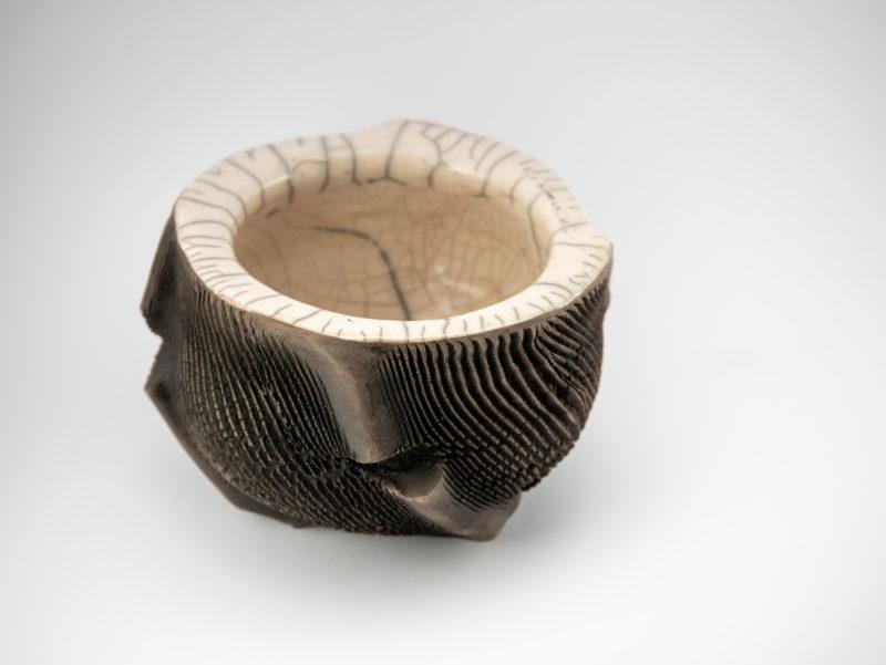 Raku Ceramic Bonsai Pot top view - Ildikó Károlyi ceramics