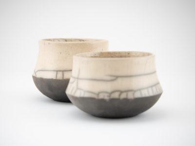 Round Raku Teacup Couple by Ildikó Károlyi ceramics