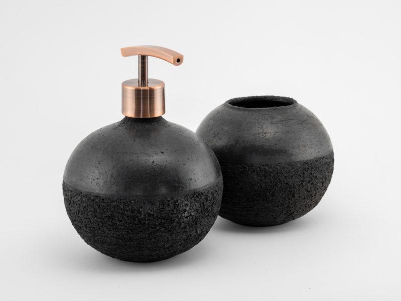 Satin Black Raku Ceramic Bathroom set - Ildikó Károlyi