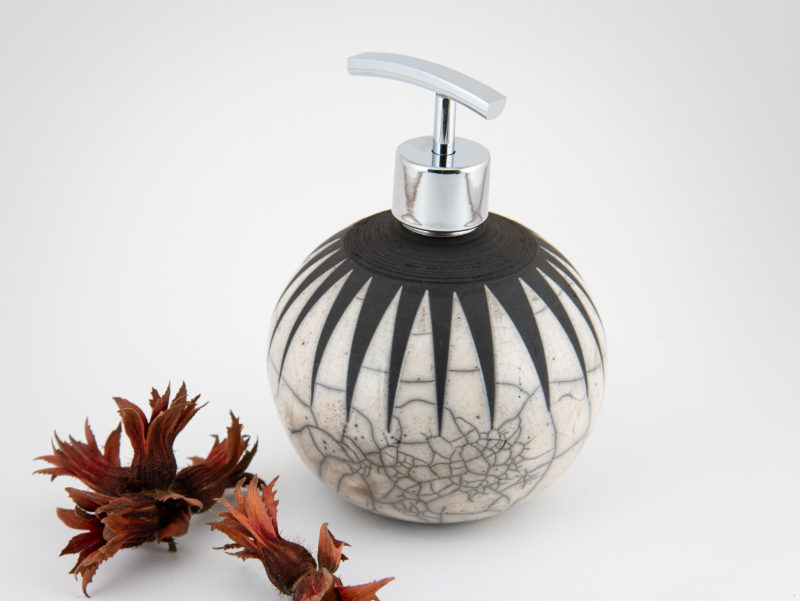 Black Hole Sun Raku Ceramic Soap Dispenser