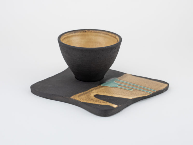 Neolithic-inspired Ceramic Cappuccino Cup with Plate: Ildikó Károlyi