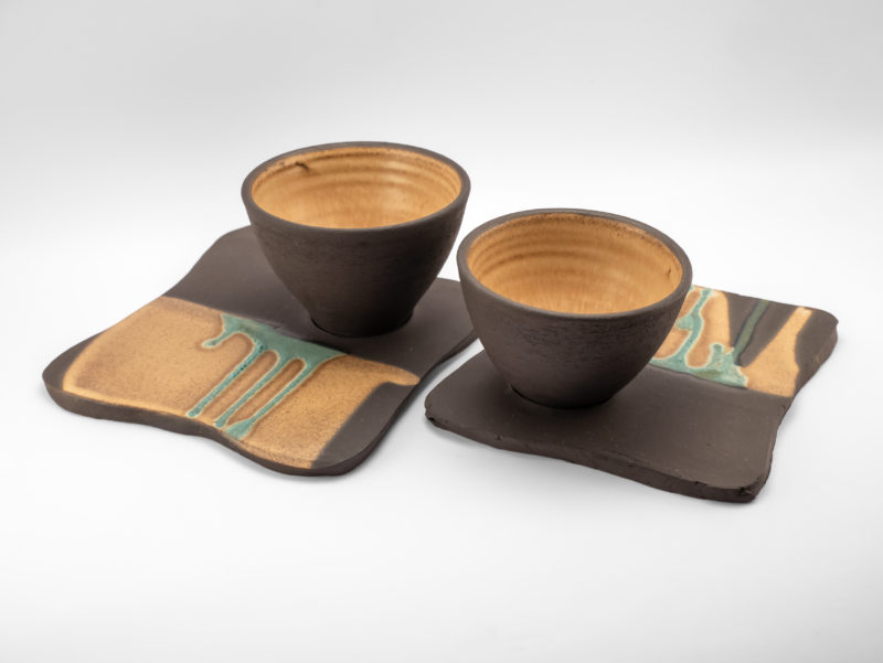 Neolithic-inspired Ceramic Cappuccino Cups by Ildikó Károlyi ceramics