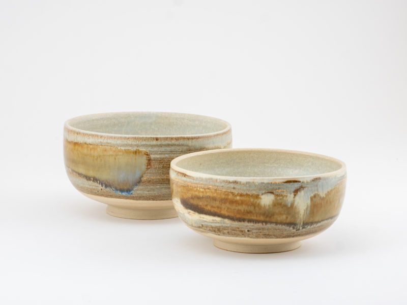 Tea Bowl couple with Wild-clay Glaze by Ildikó Károlyi