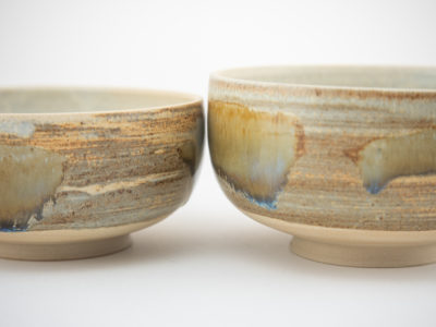 Tea Bowls with Wild-clay Glaze by Ildikó Károlyi