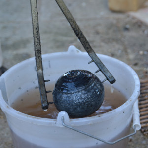Raku+Water: The objects are sprinkled with then dipped into water